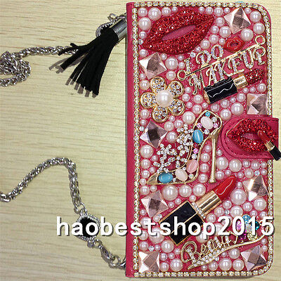 PU Leather Flip Bling Diamond Wallet Case Girl Phone Cover bag with long strap T