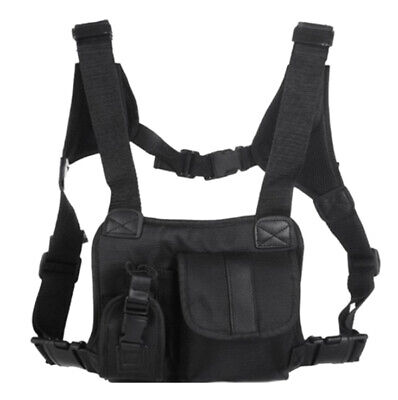 1X(Outdoor Vest Chest Rig Black Chest Front Pack Pouch Rig Carry For Two WaC2I3)