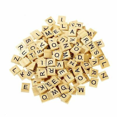 200 Wooden Scrabble Letters Wood Craft Tiles Black Word Alphabet Board Game