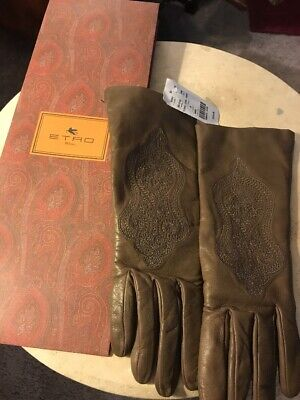$415 ETRO Sz8 Wool Lined Leather Wrist Gloves Taupe Embroidered NWT