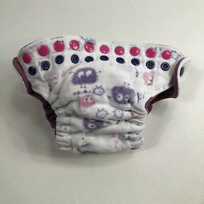 Good Mama Monsters Whit Purple Fitted Cloth DiaperAll In One AIO