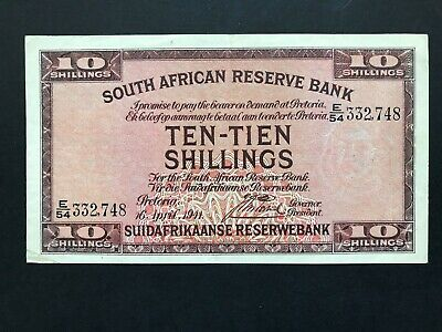 South Africa 10 Shillings dated 1941 P82d VF+/aEF