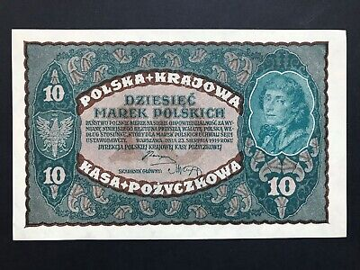 Poland 10 Marek dated 1919 P25 Uncirculated UNC