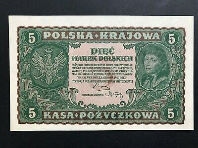 Poland 5 Marek dated 1919 P24 Uncirculated UNC