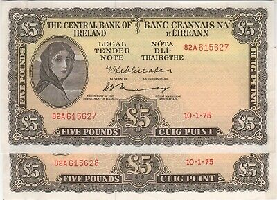 Ireland (Republic) 1.10.1975 Five Pound Consecutive Pair P# 65c good EF