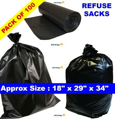 REFUSE SACKS RUBBISH BAGS BIN LINERS BLACK HEAVY DUTY STRONG. Pack of 100 Bags