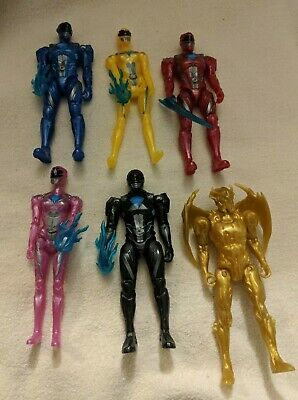 "Saban's Mighty Morphin Power Rangers Movie 5"" Action Figure Lot + Weapons Goldar"
