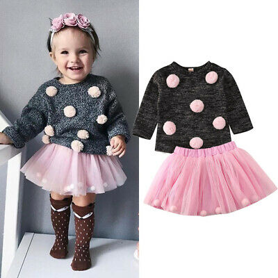 Toddler Baby Girl Autumn Winter Clothes Hairball Sweater Tops+Tutu Skirt Outfits
