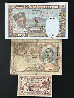 Tunisia 50 Centimes 5 & 100 Francs 3 x Banknotes dated 1943 1939 & 1941