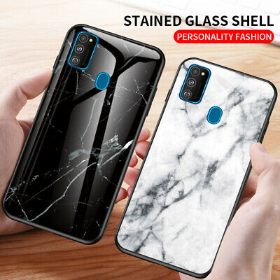 For Samsung Galaxy Note 10 Plus S10 A90 5G M30S Marble Tempered Glass Case Cover