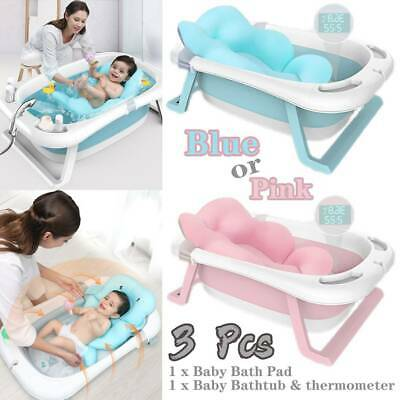 Large Foldable Baby Bath Tub Toddlers Kids Bathtub Shower w/ Thermometer NEW