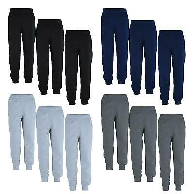 Kids Pants Plain Girls Fleece Jogging Boys Tracksuit Bottoms Bundle (Pack of 3)