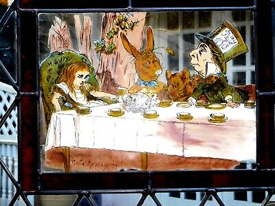 Hand Painted Alice In Wonderland Stained Glass Window Genuine Antique Bullions
