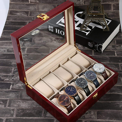 10Slot Watch Case Jewelry Display Storage Box Wooden Organizer Glass Top Display