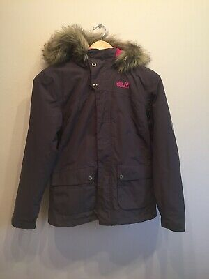 Girls 'Jack Wolfskin' Texapore Hooded Coat with fur trim - size M 165/84 12-14 Y