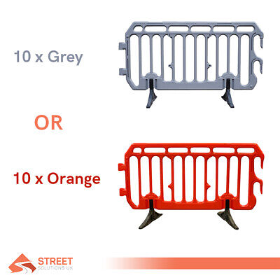 10 x 2 Meter Plastic Crowd Control Barriers Brand New | Orange or Grey Available