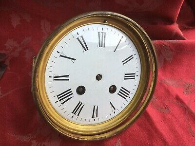 French  Antique Clock  Movement  1/2 Strike Enamel Dial And Bezel