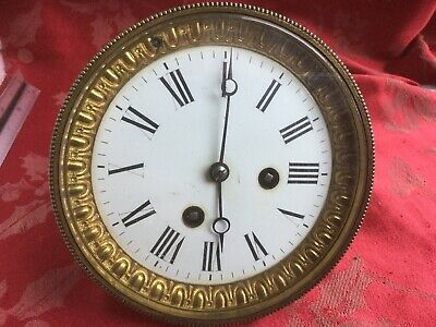 French  Antique Clock  Movement  1/2 Strike Enamel Dial And Bezel Outside C/whe