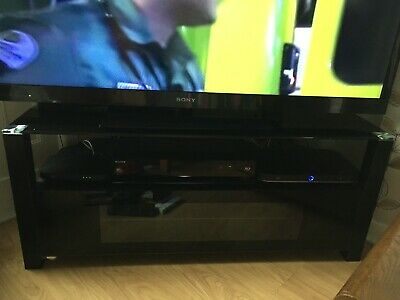 Corner TV And Media Black Tempered Glass And Metal Unit