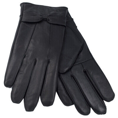 Ladies Leather Gloves with Bow Soft Warm Winter Lined Dress Gloves