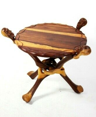Vintage African Carved Folding Legs Coffee Table [5563]