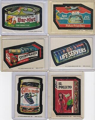 1973-74 Wacky Packs Lot of 32 Different Stickers EX/MT Overall Tan Backs