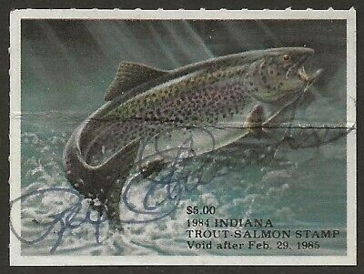 USA 1984 INDIANA Trout & Salmon Fishing Revenue Stamp #35 SHERIF SERIAL# Used