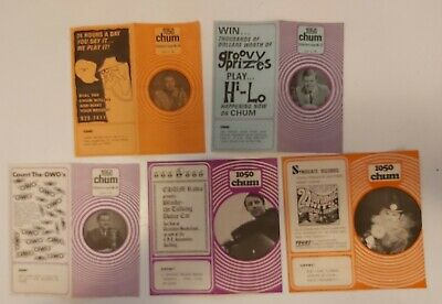 "Rare Vint. Set Of 5 (Toronto)""1969 Chum Charts See Description Section For List"""