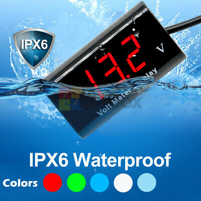 IPX6 Waterproof DC 12V Digital Blue/White LED Voltmeter Panel Volt Meter For Car