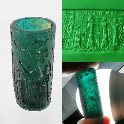 Roman Glass Ancient Sassanian Bead King Symbols Round Cylinder Rare Craved #250