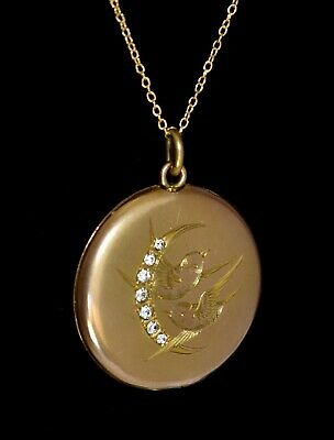 STUNNING Antique VICTORIAN GF TWIN BIRDS JEWELED Crescent Moon LOCKET Necklace