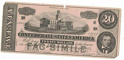 Confederate States of America $20 Facsimile Bill Root Pills Quack Medicine