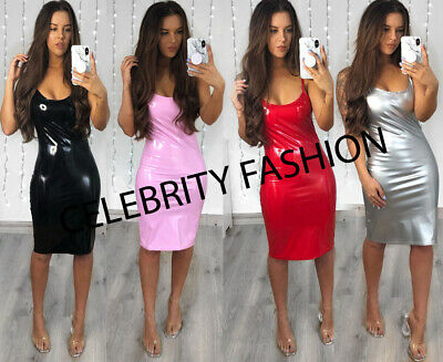 Womens Slinky PVC Leather Wet Look Vinyl Night Club Disco Mini Bodycon Dress Top