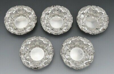 5 Antique Art Nouveau Sterling Silver Meriden Britannia Lily Flower Dishes/Bowls