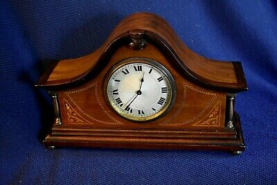 Antique c1900 Swiss Made Inlay Mahogany and Walnut Mantle Clock, Probably Buren