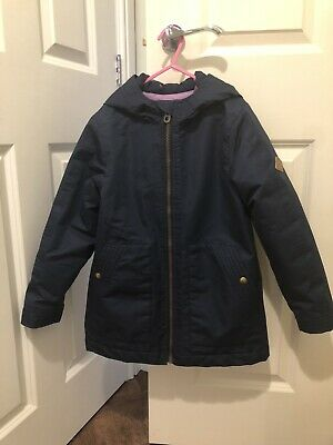 Girls Joules Padded/Waterproof Navy Blue Autumn Winter Coat Hooded/Age 7-8 Years