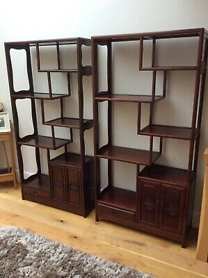 Pair of Antique Chinese Mahogany Bookcases Shelf Units Circa 1920