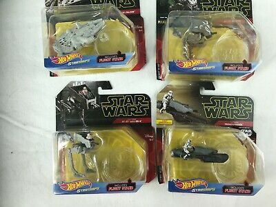 2019 Hot Wheels Star Wars StarShips Millenium Falcon-AT-ST with BB_8 lot of 4