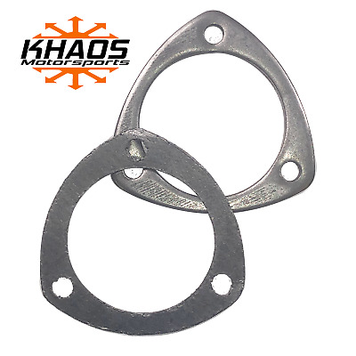 """2.5/"""" Id 3 Hole Bolt Exhaust Header Test Pipe Adapter Weldable Flange W// Gasket"""