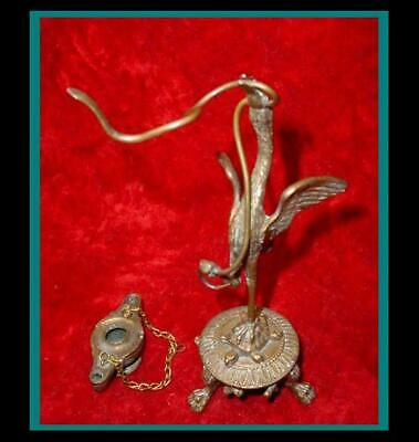 Antique ROMAN Bronze CRANE or IBIS w/ COBRA SNAKE in its Beak Holding a OIL LAMP