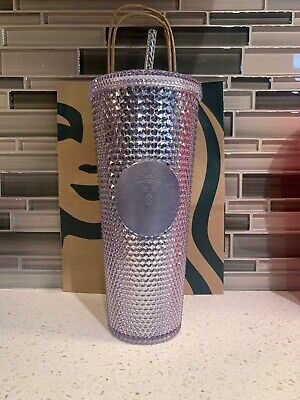 NEW STARBUCKS 2019 Venti Bling Platinum  Studded Cold Cup Tumbler WINTER HOLIDAY