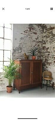 Large Victorian solid mahogany linen press | Antique cupboard with shelves
