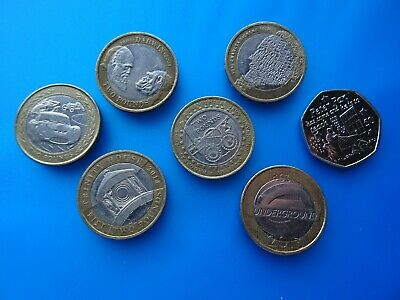 £ 2 + 50 pence coins of GB & Isle of Man - good circulated RARE 2 Pounds coins *