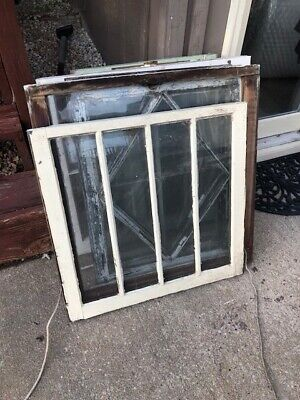 Unique 4 Pane Wood Window Frame vintage wooden sash Antique Wood Window