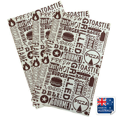 Greaseproof Paper Maroon Tasty Print 200x300mm Pkt 200 Fish Chips Burgers Food