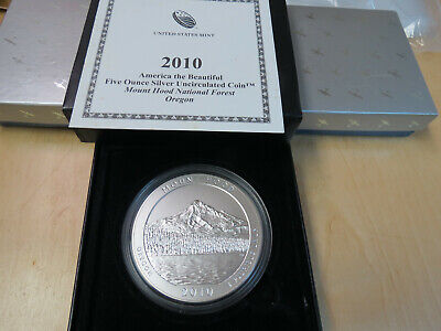 2010 P 5 ounce ozt Silver ATB Mount Hood .999 Quarter with Box and COA