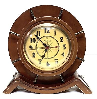 Vintage Admiral Ship's Wheel Design Electric Art Deco Style Mantle Clock