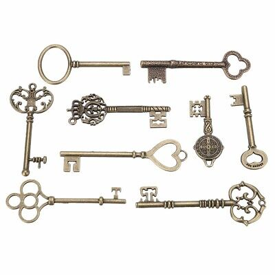 9PCS BIG Large Antique Vtg old Brass Skeleton Keys Lot Cabinet Barrel Lock GL