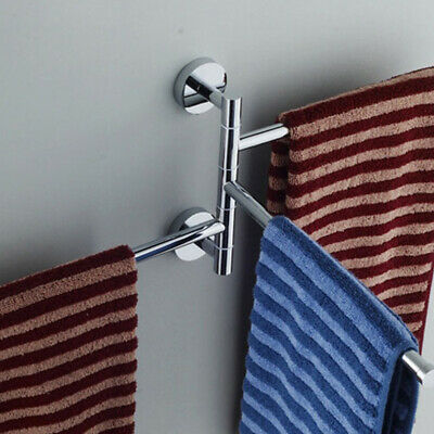 Bathroom Shower Bath Towel Rack Swivel Rail Bars Hanger Shelf Holder Wall Mount