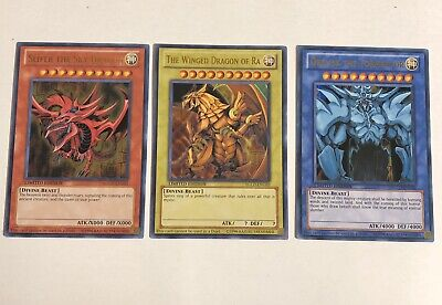 Yugioh Egyptian God Card Set YGLD-ENG03/YGLD-ENG02/YGLD-ENG01 Near Mint!